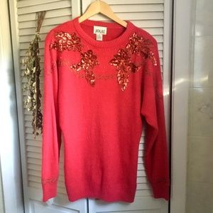 {Vintage} Silk & Angora Red Sequin Holiday Sweater